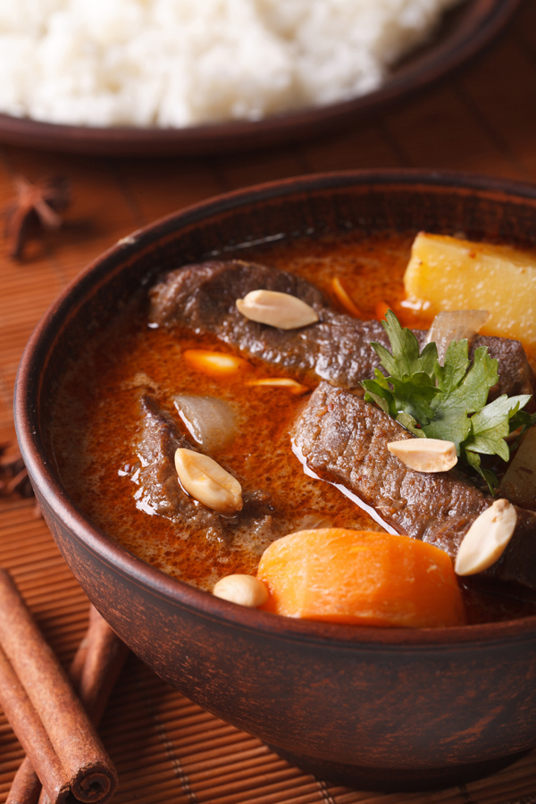 Thai massaman curry with beef and peanuts